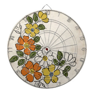 Vintage Orange and Yellow Floral Wedding Dart Board