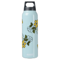 Vintage Orange and Yellow Floral Wedding Insulated Water Bottle