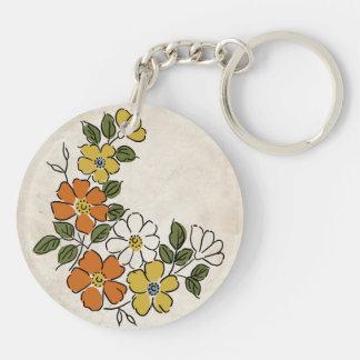 Vintage Orange and Yellow Floral Wedding Keychain