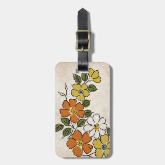 Vintage Orange and Yellow Floral Wedding Tags For Luggage