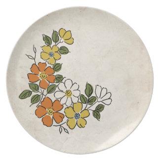 Vintage Orange and Yellow Floral Wedding Melamine Plate