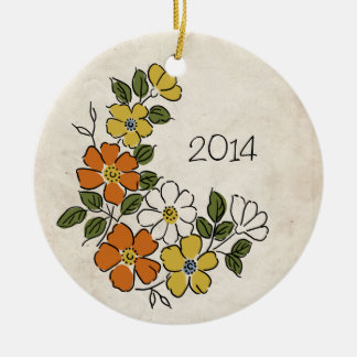 Vintage Orange and Yellow Floral Wedding Christmas Tree Ornament