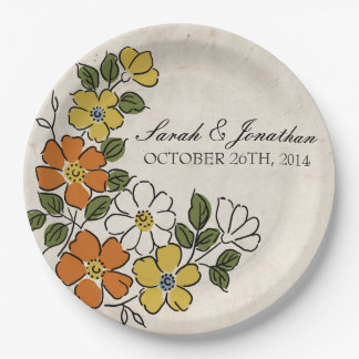 Vintage Orange and Yellow Floral Wedding Paper Plate