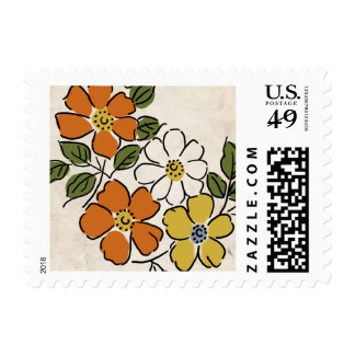 Vintage Orange and Yellow Floral Wedding Postage Stamp
