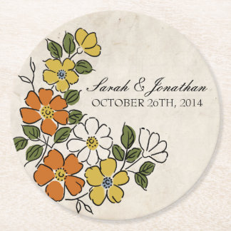Vintage Orange and Yellow Floral Wedding Round Paper Coaster