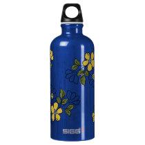 Vintage Orange and Yellow Floral Wedding Water Bottle
