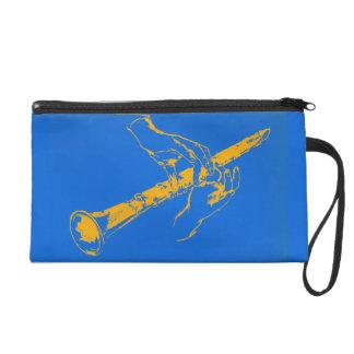 Vintage Orange Blue Hands Clarinet Benny Goodman Wristlet Clutch