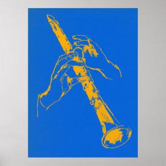 Vintage Orange Blue Hands Clarinet Benny Goodman Poster