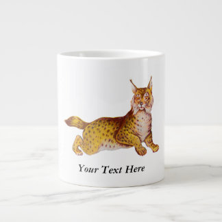 Vintage Orange Bobcat Illustration Giant Coffee Mug