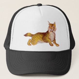 Vintage Orange Bobcat Illustration Trucker Hat