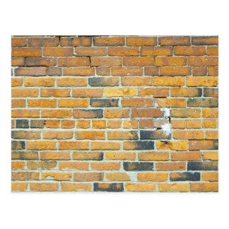 Vintage Orange Brick Wall Texture Postcard