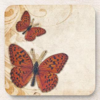 Vintage Orange Butterfly Drink Coaster