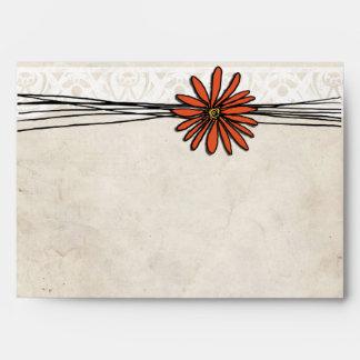 Vintage Orange Daisy Envelope