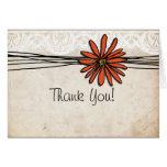 Vintage Orange Daisy Thank You Stationery Note Card