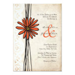 "Vintage Orange Daisy Wedding Invitation 5"" X 7"" Invitation Card"