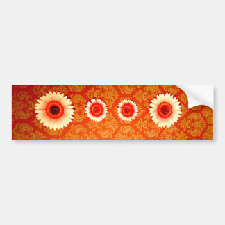 Vintage Orange Damask and Pink Daisies Bumper Sticker