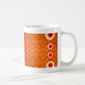 Vintage Orange Damask and Pink Daisies Coffee Mug