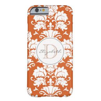 Vintage Orange Damask Monogrammed iPhone Case Barely There iPhone 6 Case
