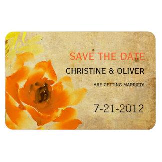 Vintage Orange Floral Wedding Magnet