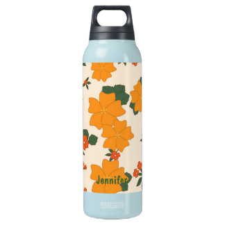 Vintage Orange Flowers Insulated Water Bottle