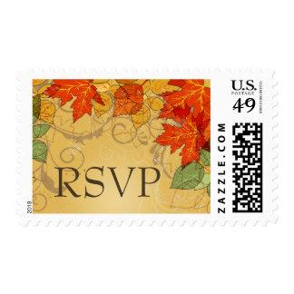 Vintage orange gold fall leaves wedding stamps