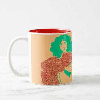 Vintage Orange Green Guitar Woman Art Coffee Mug