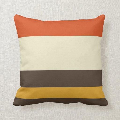 Vintage Orange Grey Yellow Cream Striped Pattern Throw Pillow