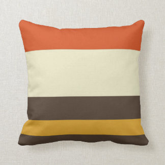 Vintage Orange Grey Yellow Cream Striped Pattern Throw Pillow