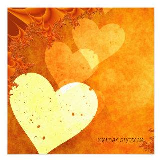 Vintage Orange Hearts Bridal Shower Invitation Personalized Invite