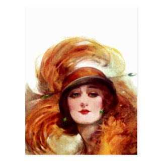 Vintage Orange Lady Hat Fashion Postcard