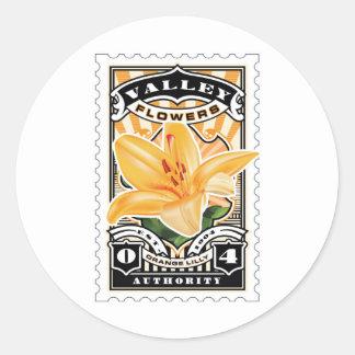 Vintage Orange Lilly Stamp Art Classic Round Sticker