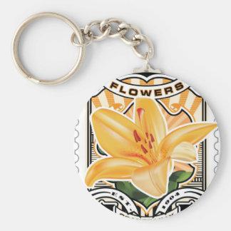 Vintage Orange Lilly Stamp Art Basic Round Button Keychain