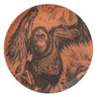 Vintage Orange Orangutan Illustration - Monkey Dinner Plate