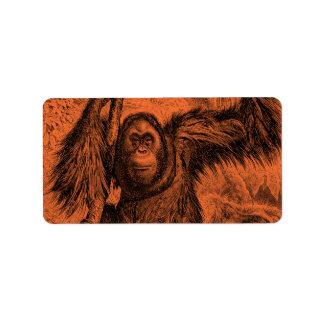 Vintage Orange Orangutan Illustration - Monkey Label