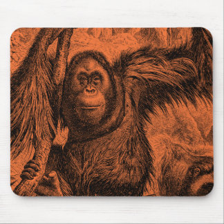 Vintage Orange Orangutan Illustration - Monkey Mouse Pad