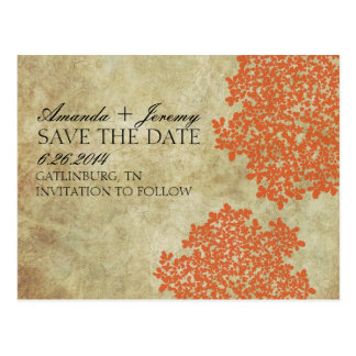 Vintage Orange Queen Anne's Lace Save the Date Postcard