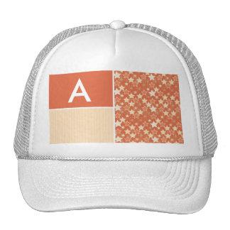 Vintage Orange Retro Star Pattern Hats