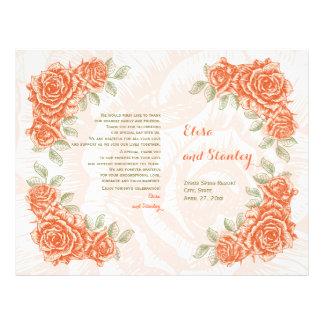 Vintage orange roses wedding folded program flyer