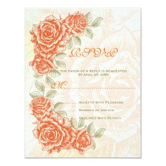 Vintage orange roses wedding RSVP response card