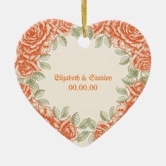 Vintage orange roses Wedding Save the Date Ceramic Ornament
