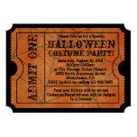 Vintage Orange Spider Web Halloween Party Ticket Card