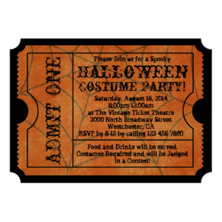 Vintage Orange Spider Web Halloween Party Ticket 5x7 Paper Invitation Card