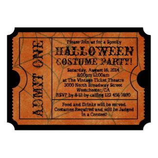 Vintage Orange Spider Web Halloween Party Ticket 5x7 Paper Invitation Card