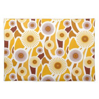 Vintage orange sunflower pattern cloth placemat