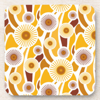 Vintage orange sunflower pattern coaster