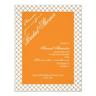 Vintage Orange Tartan Plaid Filigree Bridal Shower Personalized Invitation