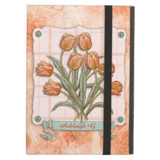 Vintage Orange Tulips Peach Pink Plaid Nice Ribbon Case For iPad Air