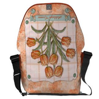 Vintage Orange Tulips Peach Pink Plaid Nice Ribbon Courier Bag