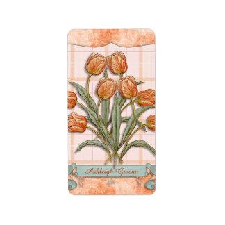 Vintage Orange Tulips Peach Pink Plaid Nice Ribbon Labels