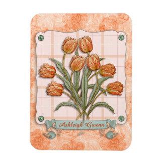 Vintage Orange Tulips Peach Pink Plaid Nice Ribbon Magnet